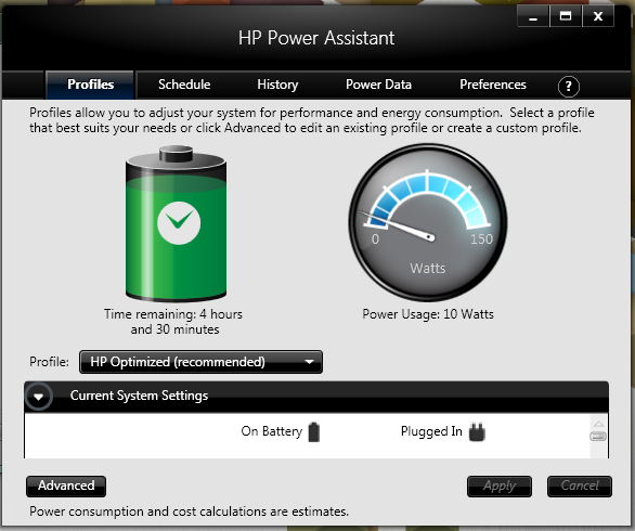 Power Assistant du HP EliteBook 8570p